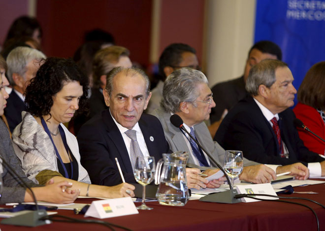 Brazil's Health Minister Marcelo Castro (second left) participates in a meeting with other Health Ministers from Mercosur-member countries to discuss policies to deal with the Zika virus at the Mercosur building in Montevideo. — Reuters photo