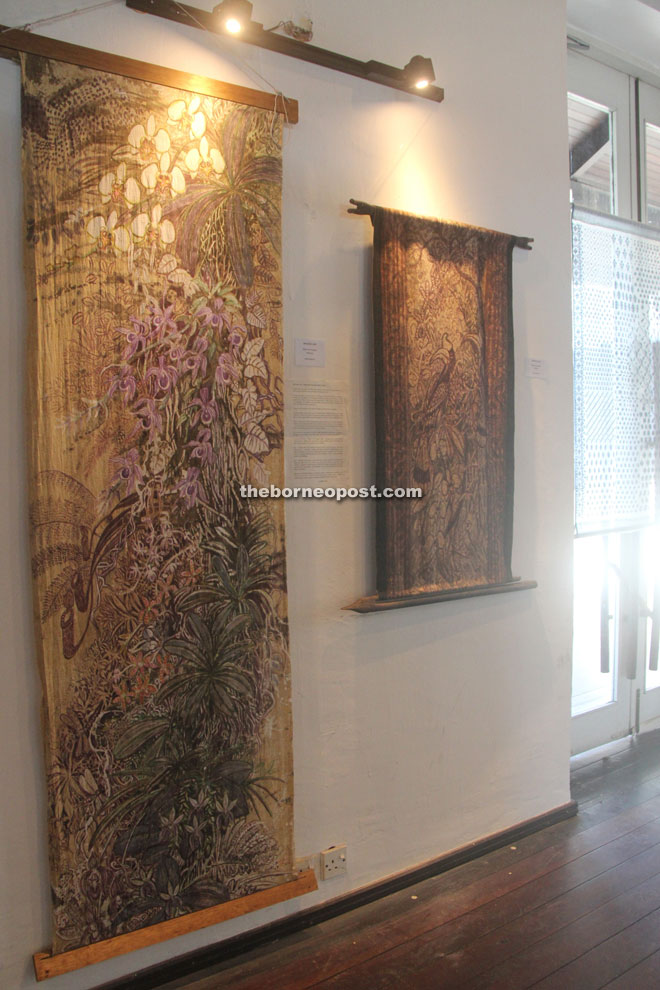 Contemporary batik wall hangings by Michael Lim.