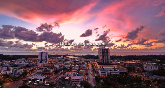 Captivating view of Miri City from the top of Meritz Hotel at sunset.