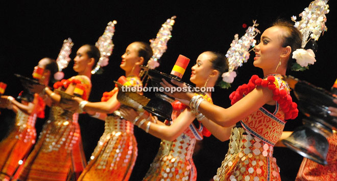 A traditional Iban dance.