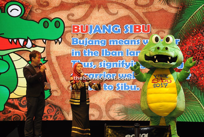 The masters of ceremony introducing 'Bubu', the Visit Sibu Year 2017 mascot.