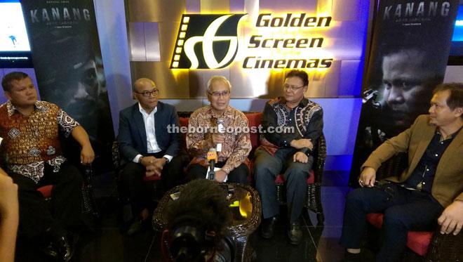 (From left) Langgi, Khusairi, Jabu, Kamil and Zainal at the press conference held before the screening of 'Kanang Anak Langkau: The Iban Warrior' at GSC Cityone Megamall.
