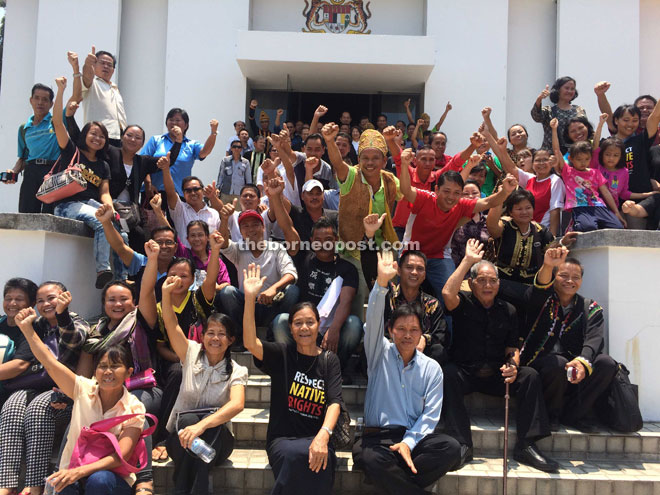 The villagers happy after the court proceedings yesterday.