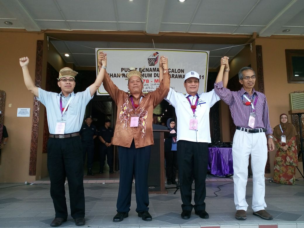 Four Corner fight in Mulu between three Kelabits candidates and one Kayan- From left DAP Paul Raja, PKR Paul Baya, BN Datuk Gerawat Gala and Independent Dr. Roland Dom Mattu