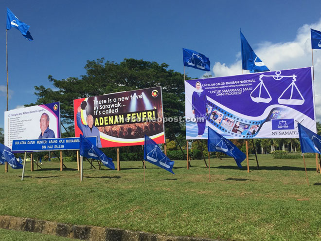 The 'Adenan fever' – his credentials and achievements splashed on giant old-fashioned billboards – is dominant while BN flags have been riding the breeze since yesterday.