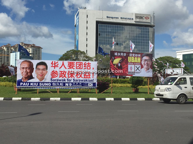 State election war is on with BN and DAP billboards erected side by side.