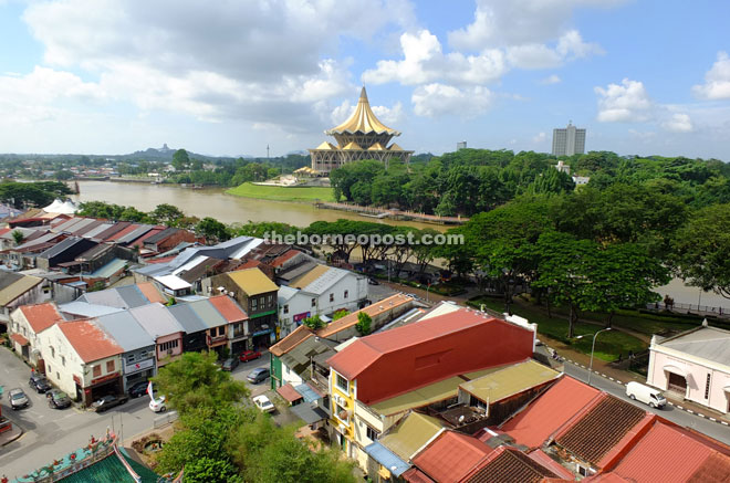 Great view of Kuching City from Star Cineplex view point terrace including the new DUN building.