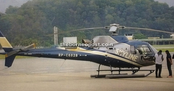 A file photo of the Eurocopter AS350, which went down in Batang Lupar on Thursday.