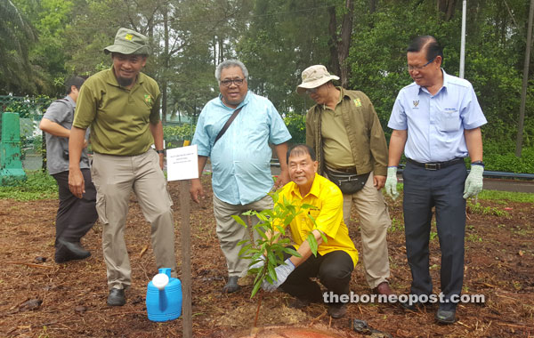 Ting (squatting) planting a tree as other VIPs look on.