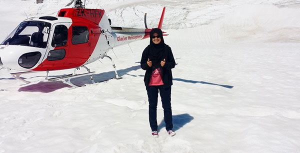 Aliya is seen before taking a helicopter ride to view the glacier from above.