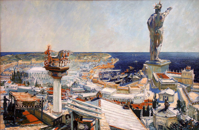 A painting of the Colossus of Rhodes.