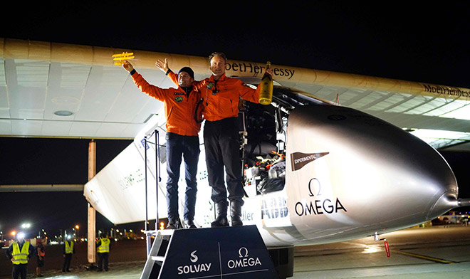 Solar Impulse 2 shows Swiss founders and pilots Bertrand Piccard (left) and André Borschberg (right) with the experimental solar-powered aircraft after landing in Dayton, Ohio. The solar-powered plane landed in Dayton, Ohio on the latest leg of a record-breaking trip to circle the globe without consuming a drop of fuel. — AFP photo