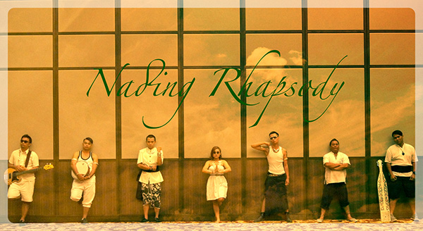 Nading Rhapsody comprises (from left) Keevin Lasam (bass guitar), Adrian Lasam (percussion), Christ Sheldon (vocals-dance), Opah (vocals-chants), Royston Kulleh (vocals-poet-dance), Petyson Pateh (percussion), Randy Walter (sape).  — Photos courtesy of Nading Rhapsody and Dayak Shutters.