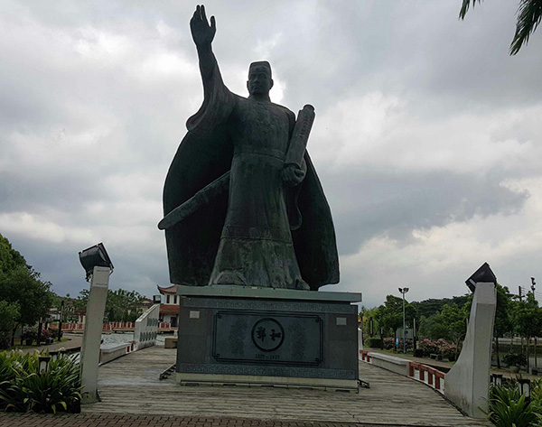 A stone statue of Admiral Cheng Ho.