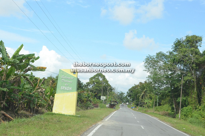 Welcome sign to Spaoh, a sub-district of Betong.