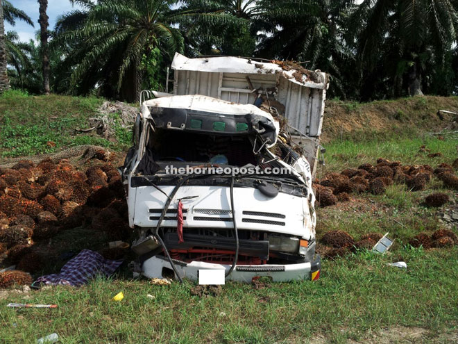 The badly damaged lorry after the accident.