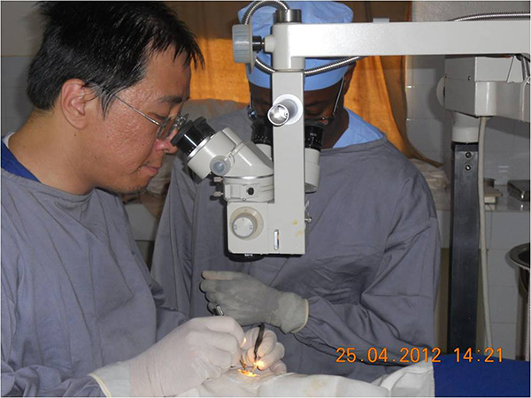 Photo of Dr Lim performing cataract surgery in Africa during a one-month stint in Africa in 2012. — Photos courtesy of Prof Dr Lim Lik Thai