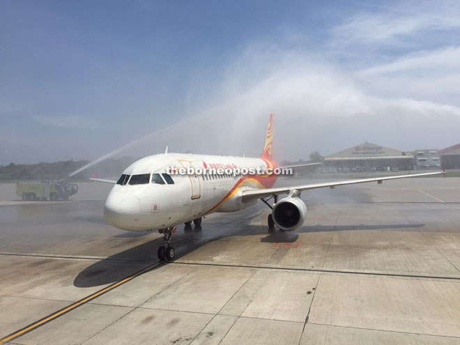 Lucky Air flight arriving at the Kota Kinabalu International Airport yesterday.