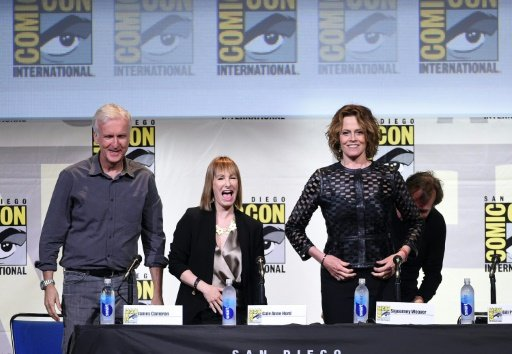 """(From left) Director James Cameron, producer Gale Anne Hurd, actors Sigourney Weaver and Bill Paxton attend the """"Aliens: 30th Anniversary"""" panel during Comic-Con International 2016. Photo by AFP"""