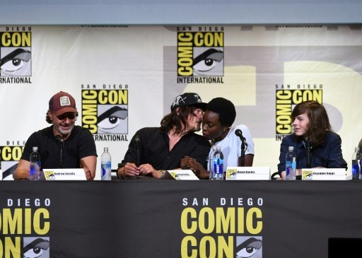 """(From left to right) Andrew Lincoln, Norman Reedus, Danai Gurira, and Chandler Riggs attend AMC's """"The Walking Dead"""" panel during Comic-Con International 2016 in San Diego, California. Photo by AFP"""