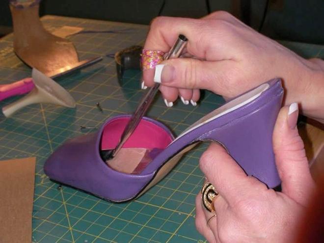 Emma's first creation — the purple shoe.