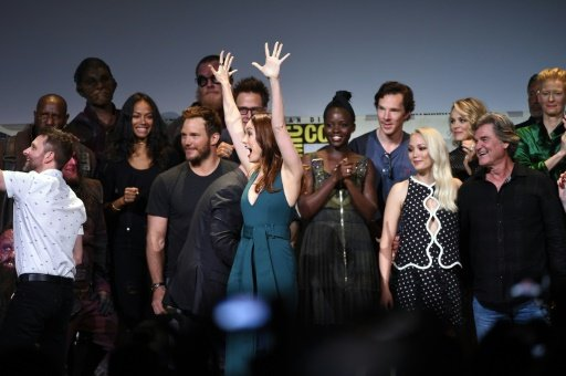 (From left) Marvel Studios President Kevin Feige, director James Gunn and actors attend a presentation during Comic-Con International 2016, at San Diego Convention Center in California, on July 23. Photo by AFP