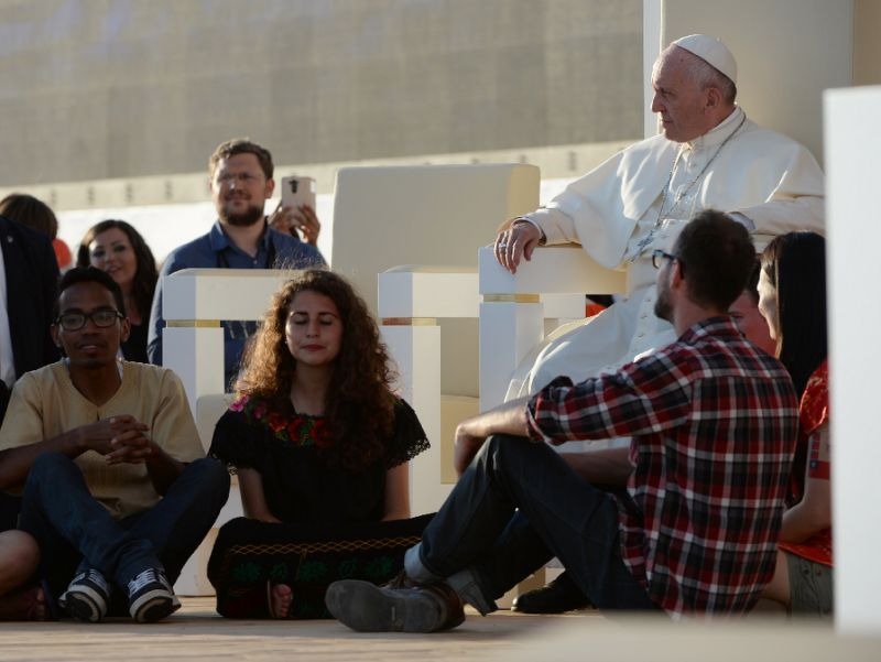 Pope Francis warned on July 30, 2016 that sitting on a sofa gives illusion of safety from pain, fear or worries, allowing the sitter to kick back and lose themselves for hours in the latest television show or their smartphones. Photo by AFP