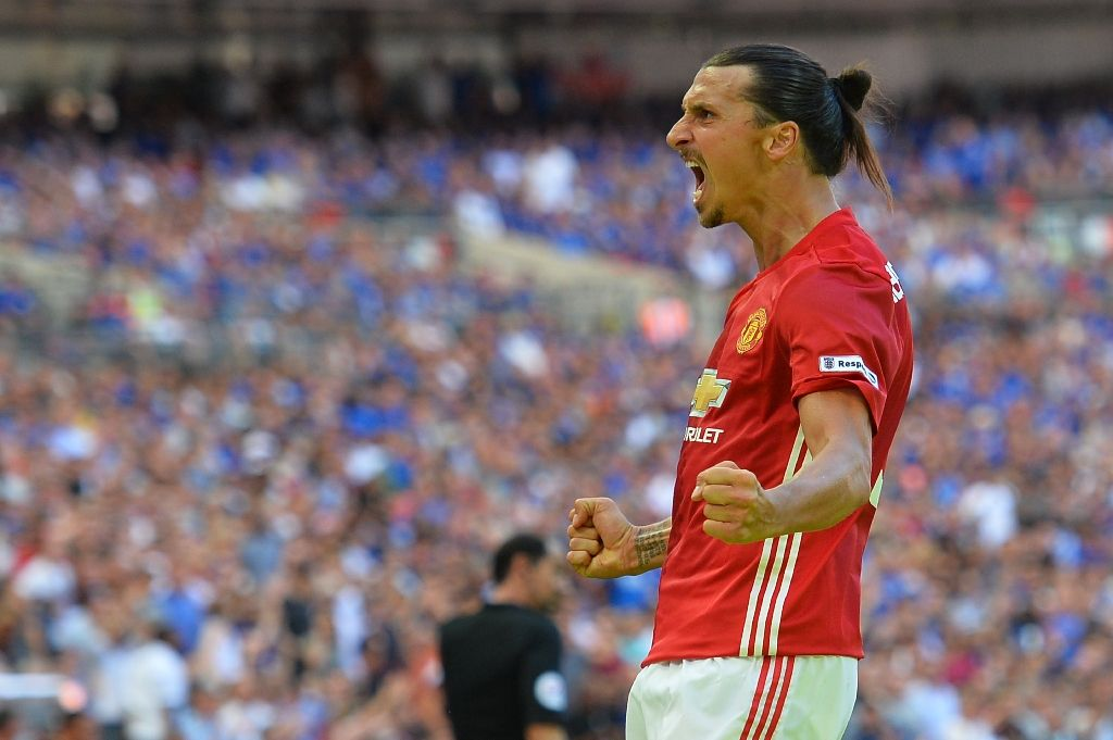 Manchester United's striker Zlatan Ibrahimovic celebrates scoring during the FA Community Shield football match against Leicester City at Wembley Stadium in London on August 7, 2016 (AFP Photo/Glyn Kirk)