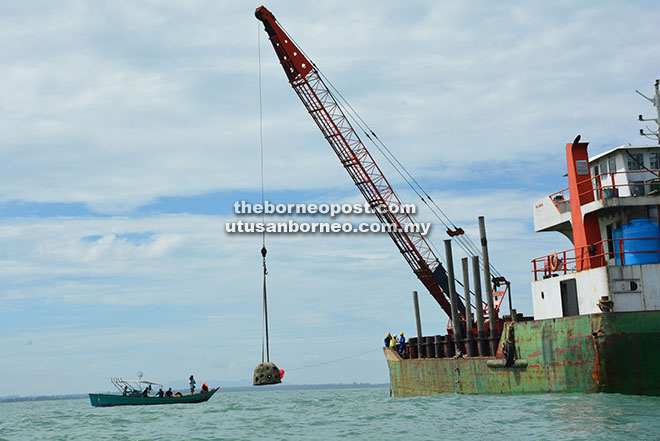 A crane lowers an artificial reef ball into the sea.