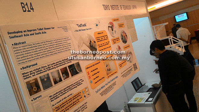 The Tokyo Institute of Technology's booth at the exhibition provides information on approaches to improve toilets in Southeast Asia and South Asia.