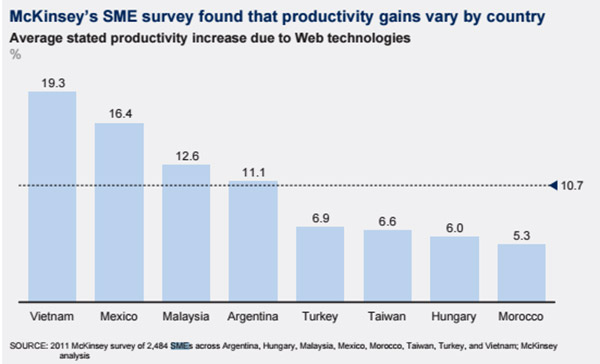 SOURCE: 2011 McKinsey survey of 2,484 SMEs across Argentina, Hungary, Malaysia, Mexico, Morocco, Taiwan, Turkey, and Vietnam; McKinsey analysis