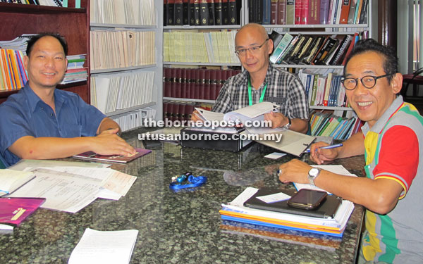 (From right) MTUC Sarawak chairman Mohamad Ibrahim Hamid, Lo and MTUC Sarawak assistant secretary Law Kiat Min meeting with The Borneo Post journalist at MTUC office in Queen's Tower, Kuching.