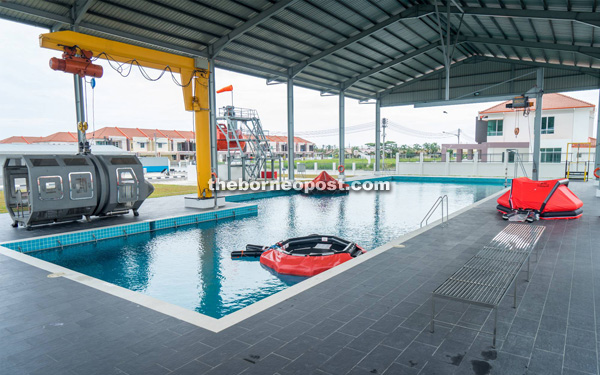 The pool for survival training.
