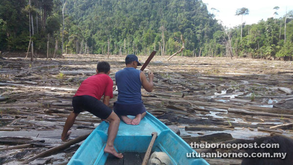 Two men figuring out a way to navigate through the log jam in the upper reaches of the Balui River recently.