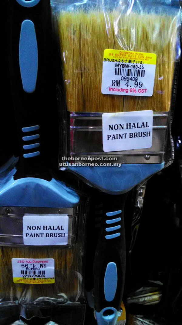 A supermarket in Miri has complied with the regulation by labelling their bristle paint brush made from pig hair as non halal.