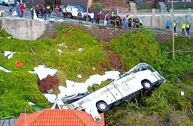 A video grab obtained from drone footage shows the wreckage of a tourist bus that crashed in Canico on the Portuguese island of Madeira. — AFP